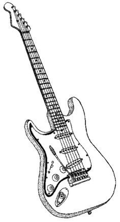 Guitar Coloring Page Guitar Sketch, Guitar Drawing, Guitar Art, Art Quilling, Quilling Patterns, Coloring Book Pages, Coloring Sheets, Faith Hope Love Tattoo, Instruments