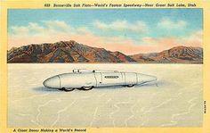 Bonneville Salt Flats Utah 1938 World's Fastest Speedway Racer Vintage Postcard