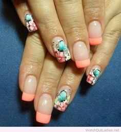 Light orange tips and floral print