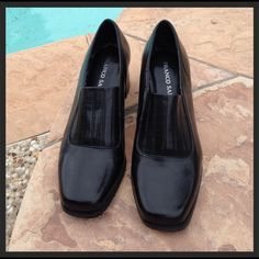 Classy Black Heels by Franco Sarto Beautiful and classy dress shoes! They have normal wear. They are not brand new so remember that when rating!! They are great shoes in great condition for the price!! Very clean inside ... Ask any questions!! Franco Sarto Shoes Heels