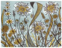 Angie Lewin is a lino print artist, wood engraver, screen printer and painter depicting the UK's natural flora in linocut and other limited edition prints. Angie Lewin, Linocut Prints, Art Prints, Illustration Art Nouveau, Art Vintage, Vintage Kids, Motif Floral, Wood Engraving, Print Artist