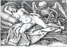 Engraving by Hans Sebald Beham (1548). A winged skeleton holding an hour-glass moves towards a young girl, who fell asleep in a suggestive position. 'Death and the Maiden' was a common theme during this period, both because of a fascination with death, and as an excuse to paint nude women.