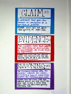 Claims evidence reasoning anchor chart - adapt for ELA Science Writing, Teaching Writing, Teaching Science, Science Education, Science Inquiry, Education Posters, Science Chemistry, Elementary Teaching, History Education