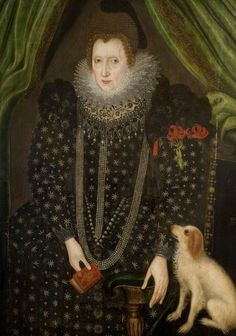 Portrait of a Lady; British School. This grandly-dressed lady wears a partlet embroidered with Tudor roses and pinned to her sleeve are 3 red day lilies (hemerocallis)- two blooming, one spent. Day lilies, which last only one day, symbolize comfort after bereavement.