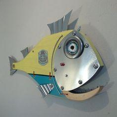Handmade Fish ,Sea Turtle wall Art Sculptures and More by Unikos Fish Wall Art, Fish Art, Fish Sculpture, Wall Sculptures, Steampunk Theme, Seaside Art, Wood Fish, Fisherman Gifts, Angler Fish