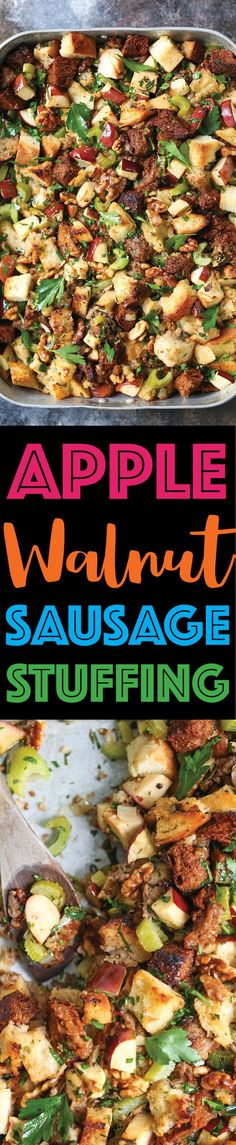 Apple Walnut Sausage Stuffing - Make your stuffing ahead of time! It's easy, quick, and flavorful with crumbled sausage, fresh herbs, and apples! SO GOOD!!!