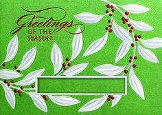 SILVER LEAVES  Make your company name noticeable with this shimmering green holiday card featuring a cut-out window for your personalization. Holly and berries are embossed in silver and red foil around your personalization. - See more at: http://greetingcardcollection.com/products/holiday-cards-holiday-greetings/313-silver-leaves