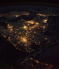 The UK at night...viewed from space. Beautiful!