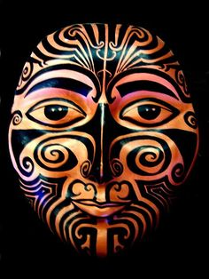 Mask Maori Mask by Michelle Dallocchio. Print of what appears to be a ceramic mask.Maori Mask by Michelle Dallocchio. Print of what appears to be a ceramic mask. African Masks, African Art, Tiki Maske, Ceramic Mask, Polynesian Art, Maori Art, Aboriginal Art, Mask Making, Funny Art