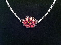 Lotus Necklace, Shrink Plastic Hand Drawn Pendant