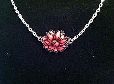 Lotus Necklace, Shrink Plastic Hand Drawn Pendant