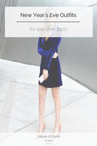 Two new years eve outfits for less than $100. Forget the traditional LBD or sequin dress. This velvet blazer dress and choker jumpsuit are ready to slay. Click to read more or pin to save for later. Houseofcomil.com x Yoursocialstatement.com
