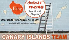 ETSY CANARY ISLANDS TEAM PROMOTION -- PAY 1€ SHIPPING RATE FOR SPAIN / 3 € to EUROPE https://www.facebook.com/events/410362435739153/