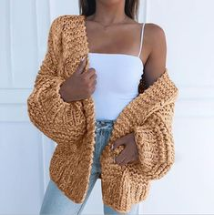 Fashion Women'S Casual Cardigan Sweater Coat · clothing · Online Store Powered by Storenvy Cardigan Sweaters For Women, Sweater Coats, Cardigans For Women, Long Sleeve Sweater, Sweater Jacket Mens, Comfy Sweater, Batwing Sleeve, Knit Fashion, Sweater Fashion