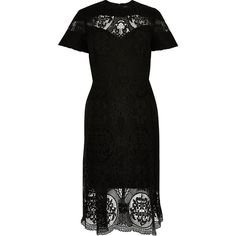 River Island RI Plus black lace midi dress ($110) ❤ liked on Polyvore featuring plus size women's fashion, plus size clothing, plus size dresses, dresses, short sleeve midi dress, plus size midi dress, lace midi dress, women plus size dresses and calf length dresses