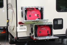 Generator Boxes for Travel Trailers, campers, rv. Two box system with slide. Beach Camper, Tiny Camper, Popup Camper, Rv Campers, Cargo Trailer Conversion, Cargo Trailer Camper, Cargo Trailers, Travel Trailers, Bus Conversion