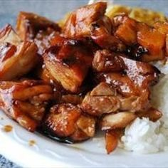 Bourbon Street Chicken in the Crock Pot! - Great use for Chicken thighs... which are usually on sale :)    Place the frozen thighs in the Crock Pot - Combine Garlic, Ginger, Apple Juice, Brown Sugar, Ketchup, Cider Vinegar, Water, and Soy Sauce. (It's a great sauce for anything :)  Pour on chicken and cook on low for 8 ours
