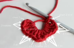 How to crochet a heart tutorial. Best one I've seen! Great pics + great instructions