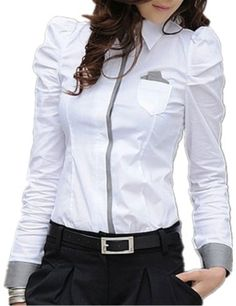 Long Sleeve Elegant White Blouse For Business Women Blouses & Shirts for Ladies Work Wear Female Tops Clothes Shirt Bluse, Work Blouse, Blouse Styles, Blouses For Women, Korean Fashion, Long Sleeve Shirts, Clothes, Korean Style, Female Tops
