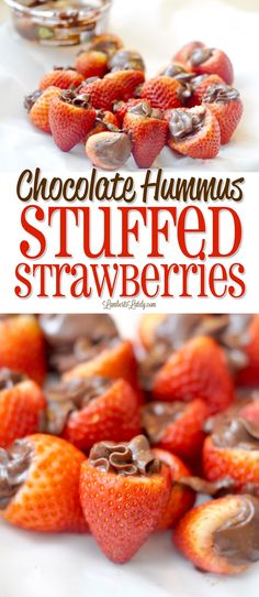 Chocolate Hummus Stuffed Strawberries are such a fun dessert! This healthy snack combines rich fruit and dark chocolate. If you're wondering what to do with chocolate hummus, this is it! Strawberry Recipes, Fruit Recipes, Dessert Recipes, Recipies, Vegan Recipes, Clean Eating Snacks, Healthy Snacks, Clean Diet, Fruit Snacks