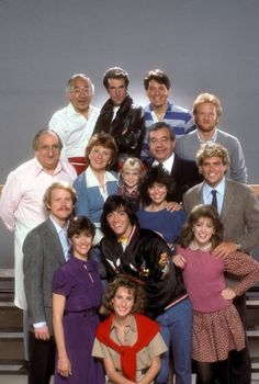 Ron Howard, Scott Baio, Pat Morita, Henry Winkler, Marion Ross, Tom Bosley, Ted McGinley, Al Molinaro, Erin Moran, Don Most and Anson Williams in Happy Days
