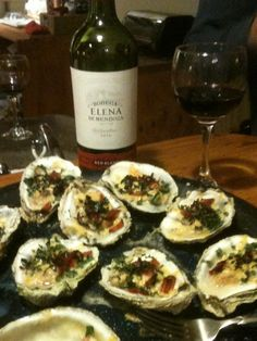 Chesapeake Bay Oysters with sautéed baby spinach, Cabot Habanero and Turkey Bacon crumbles, what a fantastic app to serve to guests!