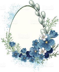 Easter background with spring flowers. Baby Blue Wallpaper, Easter Wallpaper, Flowery Wallpaper, Flower Frame, Flower Art, Easter Backgrounds, Deco Paint, Wreath Drawing, Floral Border