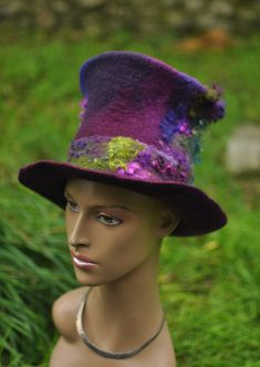 Felted Top Hat 'Magician' Handmade felt topper by Innerspiral