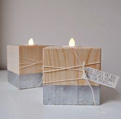 miniKUNST.: Holzleuchter mit Blattsilber