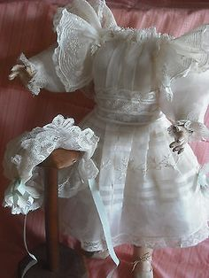 Antique doll Dress embroided organza & lace Bonnet set great attic condition in Dolls & Bears, Dolls, Clothes & Accessories | eBay