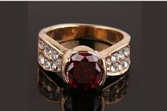 New Women 14k Gold Filled Austrian Crystal Red Garnet Size 9 Ring