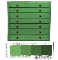 Colorways with Leslie Stocker » Combining Function and Beauty. Flat File cabinet. Annie Sloan Chalk Paint. Antibes Green. Graphite