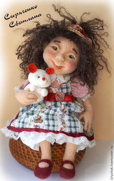 Купить кукла Марта - бежевый, кукла в подарок, шерсть для валяния, кукла, сухое валяние
