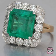 too big but still omg... Art Deco GIA Certified Emerald Engagement Ring