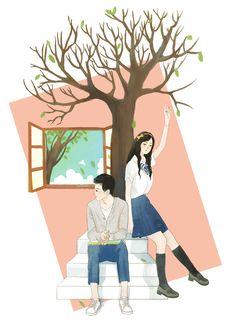 《窗》 · 动图 - 原创作品 - 站酷(ZCOOL) Book Cover Background, Wattpad Background, Cute Couple Art, Anime Love Couple, Couple Illustration, Illustration Art, Gifs, Cute Couple Wallpaper, Wattpad Book Covers