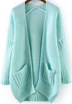 Blue Long Sleeve Pockets Loose Knit Cardigan