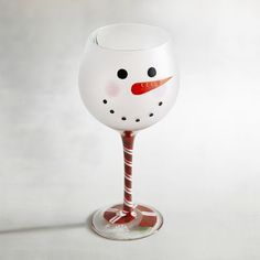 Snowball Snowman Painted Wine Glass