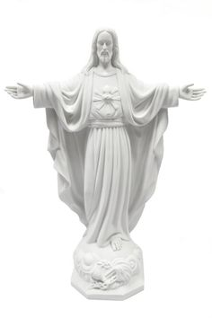24 Inch Blessing Sacred Heart of Jesus Catholic Religious Statue Sculpture Figurine Vittoria Collection Made in Italy Indoor Outdoor Garden St Bernadette Soubirous, Italian Statues, Liturgical Seasons, Metal Crown, Home Altar, Lady Of Fatima, Heart Of Jesus, Catholic Gifts, Outdoor Sculpture