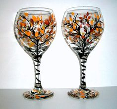 SALE / Handpainted Wine Glasses Fall is in the Air Hand Painted Set of 2 / 20 oz. / Made to Order