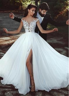 Buy discount Graceful Tulle & Chiffon Jewel Neckline A-line Wedding Dress With L. , Buy discount Graceful Tulle & Chiffon Jewel Neckline A-line Wedding Dress With L. Wedding Dress Chiffon, Muslim Wedding Dresses, Princess Wedding Dresses, Perfect Wedding Dress, Dream Wedding Dresses, Lace Dress, Lace Wedding, Lace Chiffon, Wedding Dresses With Slit