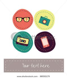 Bright funny collection of fashion hipster items by winter ice, via Shutterstock