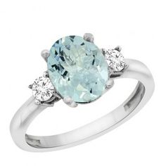 14K White Gold Natural Aquamarine Ring Oval 10x8 mm Diamond Accent, sizes 5 - 10