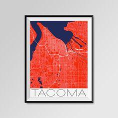 Tacoma map, Washington, Tacoma print, Tacoma poster, Tacoma map art, Tacoma city maps, Tacoma Minimal Wall Art, Tacoma Office Home Décor, black and white custom maps, personalized maps