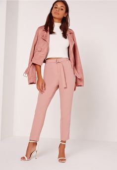 the cigarette trouser should be a staple piece of every girl's wardrobe and this pair ticks all our boxes. with its d ring belt detail and flattering leg shape, pair with a crisp white shirt and barely there heels for a babin' work wear uni...