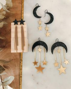 🌚 Where my #spookyseason peeps at? 🌚 Find your perfect handmade ceramic and brass statement earrings from Daily Magic.