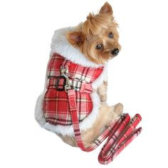 Doggie Design Wool Minky Fur Harness Jacket with Matching Leash in Holiday Classic Red/White Plaid