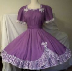 D54 MALCO MODES purple with white lace & appliques square dance dress + SASH #MALCOMODES