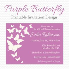 Purple Butterfly Baby Shower Invitation, Butterfly Bridal Shower Invite, Radiant Orchid, Wedding, Birthday Party -- Printable File