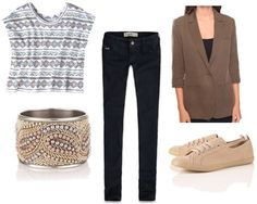 Outfit idea: Target geometric tee shirt with skinny jeans, a blazer and sneakers