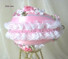 101EL Pink Floral Beaded Egg Ornament by WhiteHawkOriginals